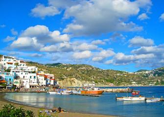 Coastal landscape with marina of Casamicciola Terme, Ischia Island, Italy