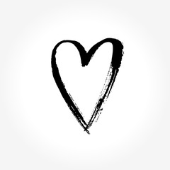 Heart sign, ink painted. Vector illustration.