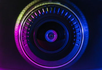 The camera lens with colored light, close photos