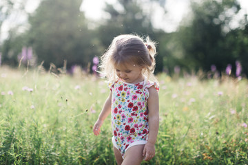Little girl standing in wildflowers Wall mural