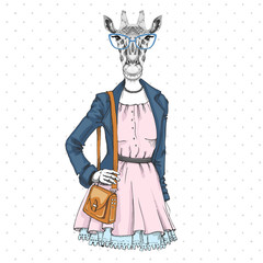 Retro Hipster fashion animal giraffe. Woman model