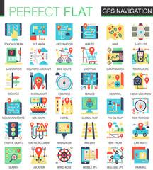 Gps navigation location vector complex flat icon concept symbols for web infographic design.