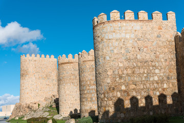 The medieval city wall of Avila in Spain