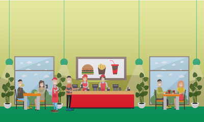 Fast food restaurant concept vector flat illustration