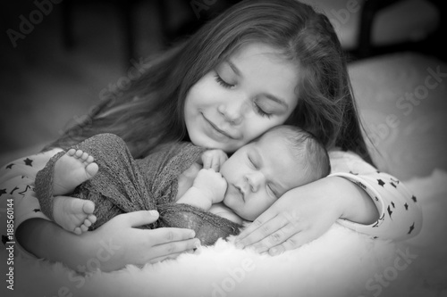 Older Sister Kwith Her Newborn Brother Sister Love Black And