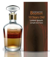 Bourbon bottle realistic Vector. product packaging mock up