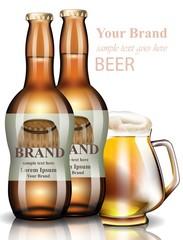 Beer bottles Vector realistic. Product packaging vintage label design. 3d illustrations mock up