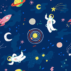 Seamless cosmic pattern with cartoon stars, planets, moon, space ship and astronaut. Trendy retro 90s style vector illustration.