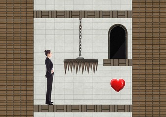 Businesswoman in Computer Game Level with traps and heart
