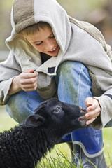 Young boy touching black lamb