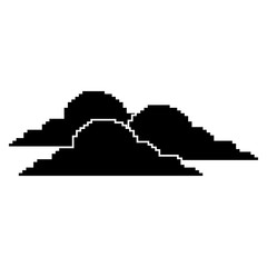 clouds pixel climate day nature vector illustration black design