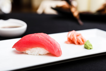 Red tuna sushi served on a plate