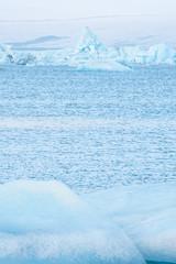 Jokulsarlon lagoon, Iceland. Beautiful cold winter landscape of Jokulsarlon glacier lagoon, Iceland in the winter.