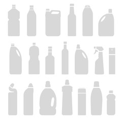 Set of gray silhouette illustration bottles, cans, container