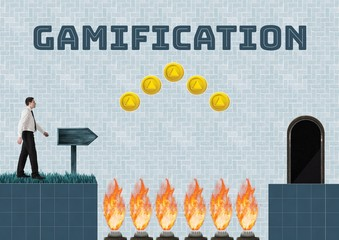 Gamification text and Businessman in Computer Game Level with