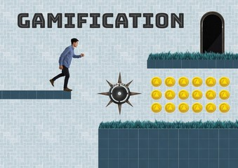 Gamification text and Man in Computer Game Level with coins and