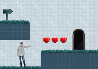 Man in Computer Game Level with hearts and trap