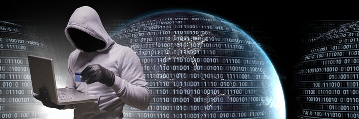Anonymous hacker with computer code binary interface and earth