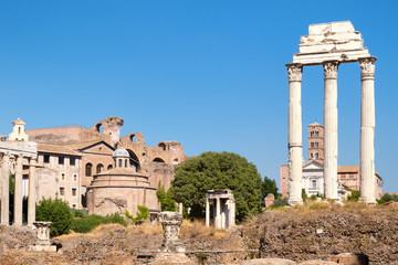 Ruins of the ancient Roman Forum in Rome