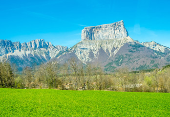 Scenic view of Chichilianne village in France, with mount Aiguille