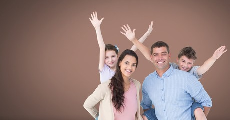 Family having fun together with brown background