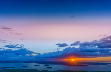 Amazing sunrise at the top of Cadillac Mountain in Acadia National Park
