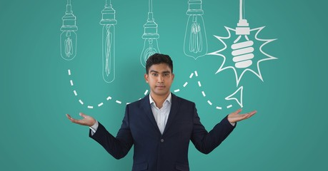 Man shrugging with bulbs
