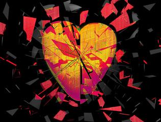 Exploding broken heart abstract
