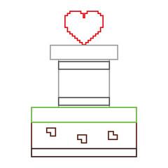 heart love life video game vector illustration line color design