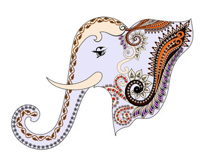 gray elephant head with a paisley pattern