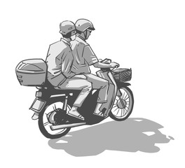 Isolated ink drawing of two people riding motorcycle in black and white grey scale