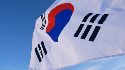 The South Korean Flag with Blue Skies
