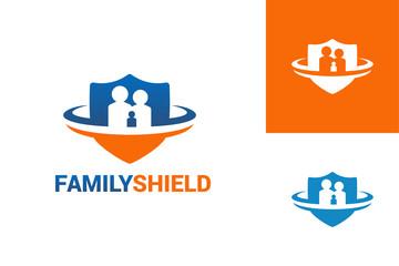 Family Shield Logo Template Design Vector, Emblem, Design Concept, Creative Symbol, Icon