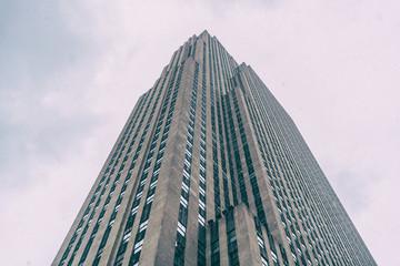 Skyscraper seen from below in new york.