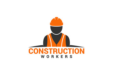 Construction Workers Logo Template Design Vector, Emblem, Design Concept, Creative Symbol, Icon