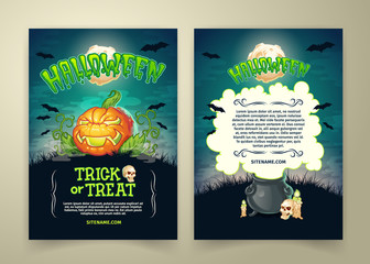 Halloween trick or treat party vector posters template or invitation card. Cartoon scary pumpkin, skull and witch pot, black bats and full moon over haunted cemetery for Halloween holiday party design