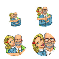 Vector pop art avatars for social network chat user profile or blog account picture icon template. Yong blonde girl embracing adult or old bald man in glasses happy smiling. Retro sketch set