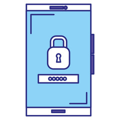 smartphone device with padlock vector illustration design