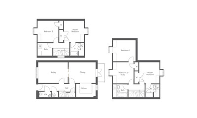 1 bed, 2 bed and 3 bed apartment floorplans
