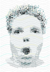 Human portrait made with Letters and Music notes
