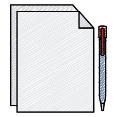 paper document with pen vector illustration design