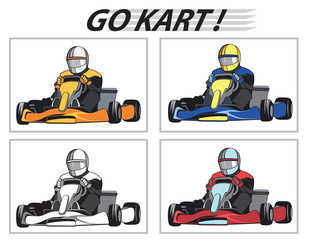 Racers in the karts in different colors / Karting, Competition, Championship, Winner, vector, set
