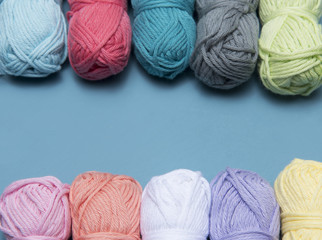 Background image of colourful wool or yarn with copy space