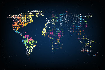 Dotted World map. Abstract computer graphic World map of colorful round dots. Vector illustration.