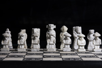 Black and white chess strategy game.