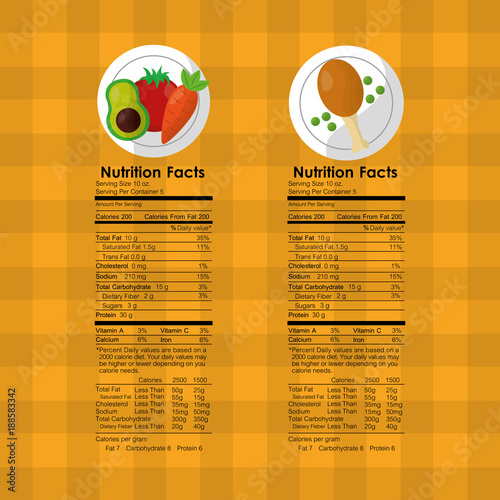 Vegetables And Roasted Chicken Nutrition Facts Food Label Vector