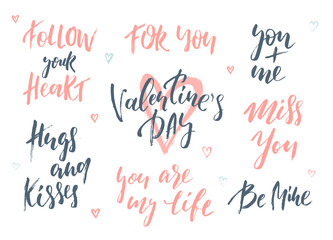 Romantic lettering set. Calligraphy postcard or poster graphic design typography element. Handwritten vector style happy valentines day sign.