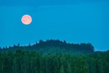 Full moon landscape in Finland