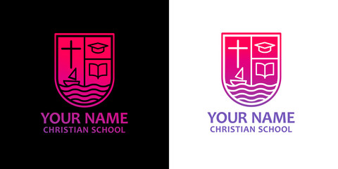 Template christian logo, emblem for school, college, seminary, church, organization