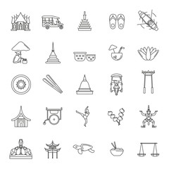 Thailand line icons set isolated on white background. Vector illustration with Thailand architecture, food and culture elements web icons in line style.